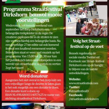 As zaterdag 12 sept speelt TOOS op het straatfestival Dirkshorn