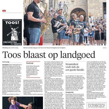 TOOS in de krant ivm optreden zo 15-7 te Heemskerk